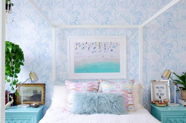 Phòng ngủ màu xanh carolina