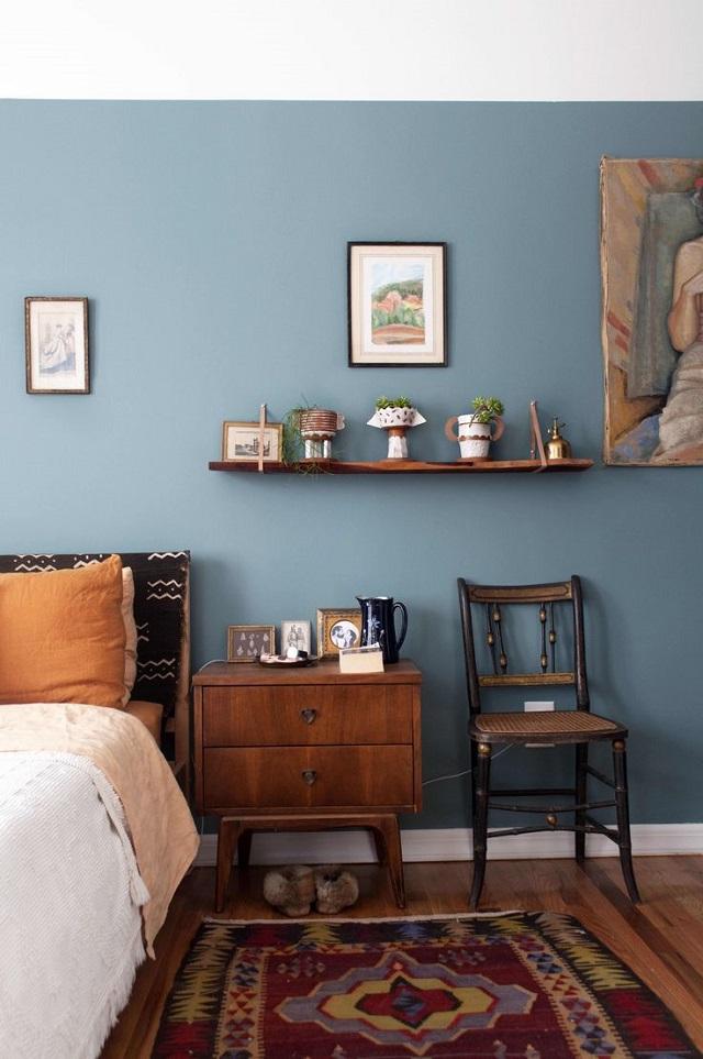 Phòng ngủ màu xanh thủy tinh nhạt