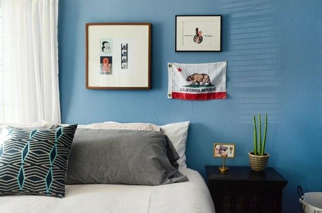 Phòng ngủ màu xanh Denim
