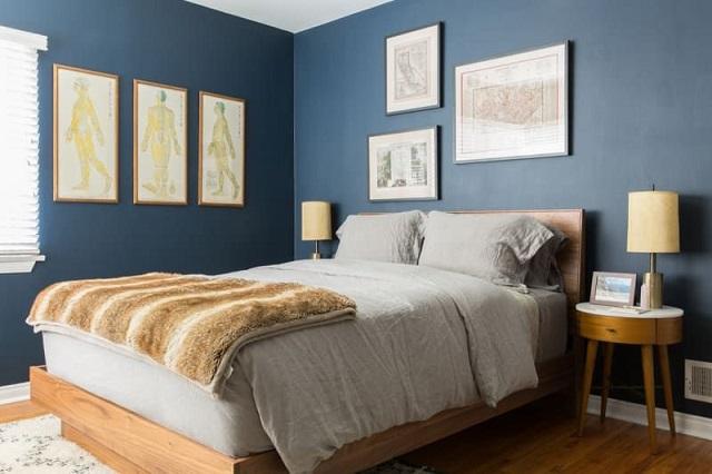 Phòng ngủ gam màu xanh baby blue