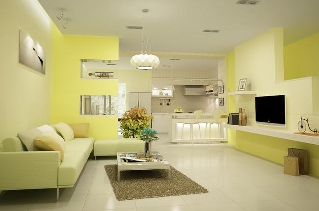 sơn phòng khách màu vàng